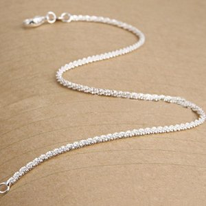 Plated 925 Silver Chain Girls Bracelet Anklets Jewelry For Shining Sterling Foot New Gifts Women beauty888 ZMnJW