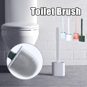 Silicone Toilet Brush Wall Save Space Brush Mounted Flat Head Flexible Soft Brushes With Quick Drying Holder set Bathroom Accessory WY829-1