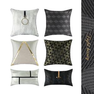 45x45 50x30cm mordern luxury black cushion cover jacquard pillowcase sofa decorative white texture pillow cover backrest