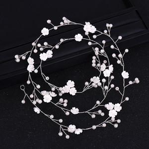 Hair Band Long 100cm Flower Handmade Floral Pearl Wedding Headband Bride Hair Jewelry Women Gifts Bridal Headwear Fashion Luxury