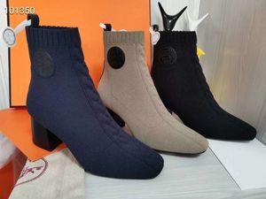 Martin botları lüks tasarımcı H evin yüksek kök ayakkabı örme elastik çorap çizmeler kalın deri çizme