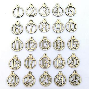 Calendrier de l'Avent Nombre Étiquette 1-25 Calendrier Compte à rebours Advent bois boîte-cadeau Étiquette Réunion de famille Décorations de Noël AHD937