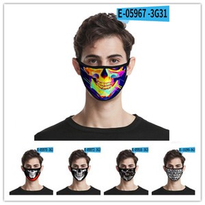 Fashion face mask Halloween skull personality 3d  mask black dustproof fashion printing ice silk fabric washable