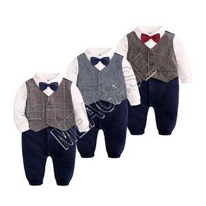 Los niños recién nacidos del bebé vestido de traje formal de la pajarita del caballero del mono del mameluco del chaleco Brithday del niño de los niños esmoquin Bowtie d81204 camiseta Trajes