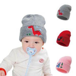 Winter Baby Hat Embroidered Dinosaur Children Beanies Soft Knitted Newborn Caps Crochet Warm Toddler Beanie Hat Headwear 5 Colors DW5981