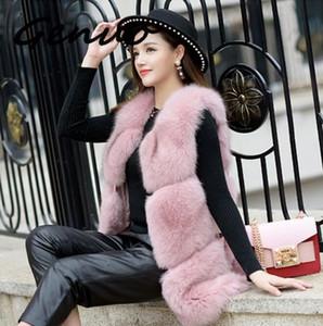 Mujer 2020 Inverno donne di lusso Dimensioni Genuo Nuovo Faux Fur Vest più di moda lungo Faux Fur Gilet Femme Veste Cardigan