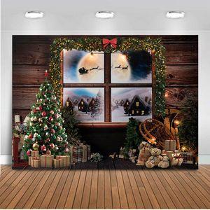 toile de fond Photographie studio fond Fenêtre Arbre de Noël photo Portrait de fond pour studio photo bébé nouveau-né photocall