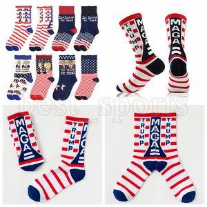 Trump носки президент MAGA Trump письмо чулки Striped Stars US Flag Спорт Носки MAGA Носок Party Favor ZZA2719 Морские перевозки