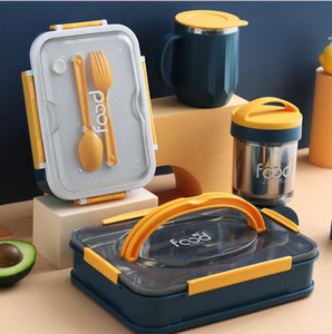 Taşınabilir Bento Kutular 4 Izgaralar yemek kutusu Paslanmaz Çelik Öğle Kutu 3 Izgara yönlü Bento Box Tam Sealed Sızdırmazlık Gıda Konteyner AHE758