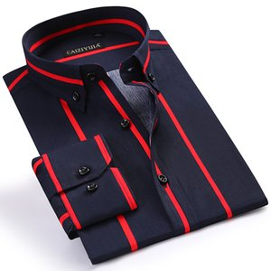 Men's Stylish Color Block Striped Cotton Shirts Comfortable Long Sleeve Standard-fit Button-down Collar Casual Tops Shirt 200925