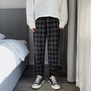 Men Women Korean Green Plaid Casual Pants 2020 Mens Streetwear Harem Pants Male Checkered Trousers Plus Size