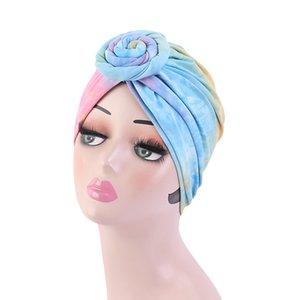 New Fashion Tie-Dye Top Knot Turban For Women Muslim Ladies Headwrap Headwear Hair Loss Hat Floral Bandana Cap Hair Accessories