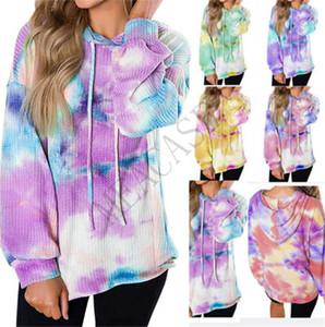 Las mujeres del diseñador sudaderas camiseta cheques otoño con capucha suéter de manga larga de la blusa Ropa Gradiente wALF teñidas lazo Sudaderas Tops S-2XL D81102