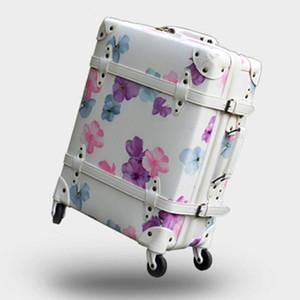 Designer- Bagaj, Kiraz Retro Seyahat Bavul, Yüksek kaliteli PU Baskı çantası, Spinner Rolling Trolley Carry-Ons Çanta, Silindir Rod Kutusu El