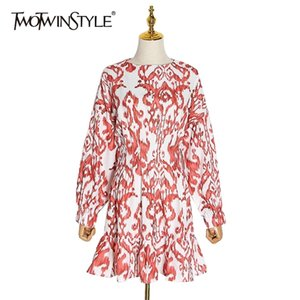 TWOTWINSTYLE Casual Print Women Dress O Neck Lantren Long Sleeve High Waist Ruffles Hit Color Dresses For Female Fashion Clothes0924