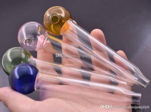 desgin12cm nueva recta de cristal quemador de aceite de tuberías de vidrio tubos de vidrio de petróleo pipa de tabaco mano smoling tubería nueva caída desgin envío NIPC #