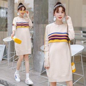 2PQ3s Pullover Nueva maternidad ropa suelta otoño 2019 de maternidad suéter otoño embarazada ropa de longitud media de las mujeres del estilo de Corea y w 03Jm4