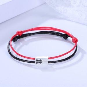 fTMFW mode Couple sterling corde hommes paire naturelle en forme de tie-bracelet en argent bijoux bracelet et des femmes double bonheur tissé ha