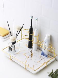Nordic Baño Cepillo de dientes eléctrico cepillado Copa de almacenamiento de soporte cosmética perfume caja de almacenaje de escritorio del lápiz labial del maquillaje organizador LJ200812