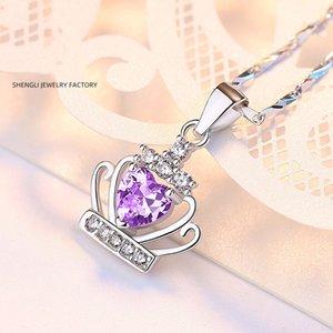S999 plata esterlina Corona clavícula cadena collar de diamantes de la princesa cumpleaños de la novia joyería al por mayor regalo
