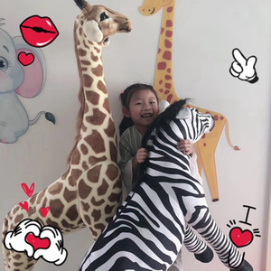 simulation wild animals large zebra plush dolls forest oversized giraffe toy home design decoration gift DY50894