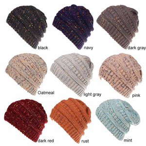New 9 Colors Women Ponytail Caps Knitted Beanie Fashion Girls Winter Warm Hat Back Hole Pony Tail Autumn Casual Beanies DHL Free Shipping