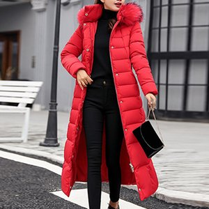 JODIMITTY 2020 Escudo de moda nuevo estilo chaqueta de invierno de las mujeres de algodón acolchado caliente Maxi Puffer Escudo de señora Long Coats Parka Chaqueta Femme T200831