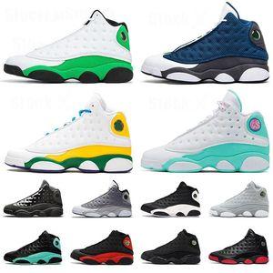 2020 Playground Jumpman 13 13s Hommes Chaussures de basket Flint chapeau et robe Green Island cour Bred violet Aurora vert loup gris Sneakers melo