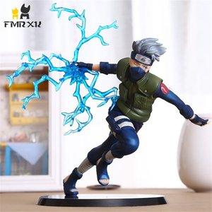 FMRXK 22cm Naruto Kakashi Sasuke PVC Action Figure Anime Puppets Oyuncak Modeli Danışma Koleksiyonu için Kitler Çocuk 200924