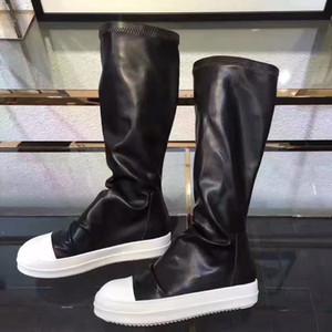 Diz çizme kadınlar siyah haki üzerinde Stretch sonbahar kış kalın beyaz alt düz platform ayakkabılar uyluk yüksek çizmeler uzun çizme