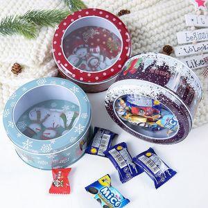 Kutular Dekor Ambalaj Noel Şeker Hediye Teneke Kutu Çocuk Hediye Kutusu Vaka Noel Noel Baba Snowman Baskılı Mühürlü Kavanoz