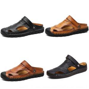 Verano de los nuevos hombres pantalones ajustados y transpirable hechos a mano sandalias de cuero ocasionales polainas de doble propósito trendy sandalias perezosas