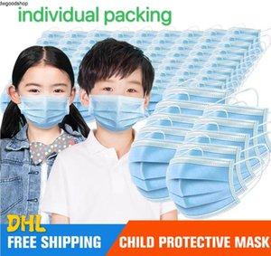 Ягнятся Маски 3-15years Дизайнер лицевая маска для лица Мода Дети 3 слоя Одноразовая маска Protective Kid РТУ DHl 3--5days Доставка
