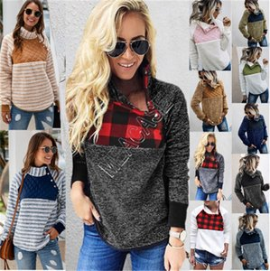 Frauen Fleece Sweatshirts Buffalo-Sherpa Pullover Trendy Oblique-Knopf-Kragen-Warm-Mantel-Winter Patchwork-Jacken-D91710