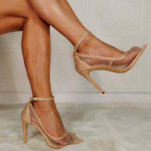 Oro Diamante Dipsloot caliente claro de la manera del dedo del pie del pío de PVC sandalias de la hebilla de Bling Bling finos tacones boda sandalias zapatos de la mujer con Encanto