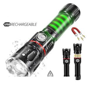 Carregador USB High-end lanterna LED lâmpada redor COB + cauda de apoio modos de zoom 4 iluminação Design Ímã impermeável Tocha