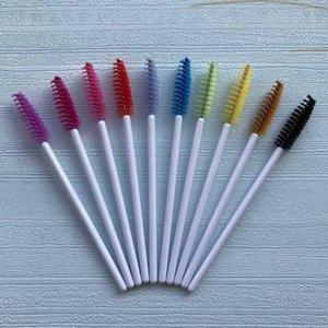 1000 pcs mix 12 Colors Eyelash Brush White End Micro Nylon Mascara Wands Brushes Eyelash extension Grafting Make up tool