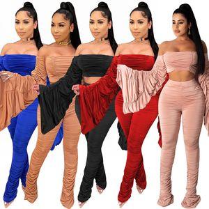 Donne Tute sexy Due set di pezzi del chiarore del manicotto spalle Crop Pantaloni Top balze lunghi solido delle signore di colore Slim Clubwear Taglie
