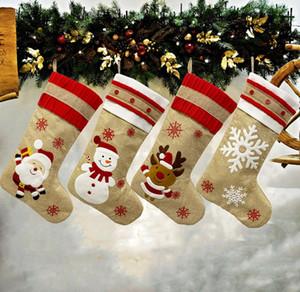 크리스마스 휴일 파티 장식 DHL 들어 18.8inch 큰 크리스마스 스타킹 삼베 캔버스 산타 눈사람 순록 커프 패밀리 팩 스타킹 선물 가방