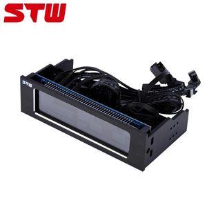 STW 5043 컴퓨터 4 팬 속도 컨트롤러 CPU 온도 센서 3PIN + 4PIN는 컴퓨터 인터페이스 드라이브 전면 LCD 패널을 냉각