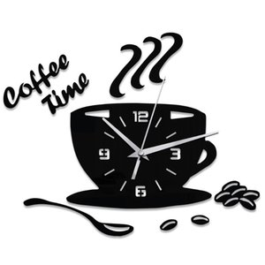 Kitchen Mute Numerals Modern Acrylic 3D Coffee Home Decor Sticker Battery Powered Gift Cup Shape Household Wall Clock Adhesive