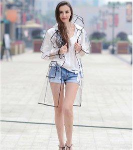 Pedestrianism Rainning الوقت إمرأة عارضة الملابس النسائية مصمم المطر سترة أزياء ملونة الأنابيب شفاف حماية معطف واق من المطر