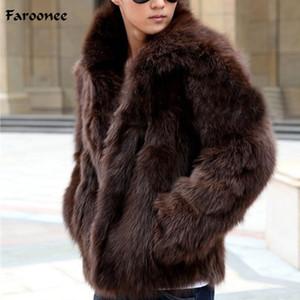 Faroonee Uomo Faux Fur Coat inverno addensare Warm Faux Fur Coat Outwear il soprabito di modo sottile rivestimento casuale Large Size Y1880
