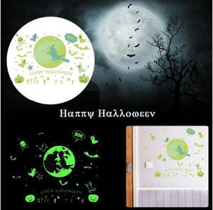 Duvar Çıkartmaları Mutlu Cadılar Bayramı Aydınlık Glow Sticker Gece KTV Kulübü Floresan Çıkartmalar Çıkartması Cadılar Bayramı Ev Duvar Pencere Dekorasyon DHC1501