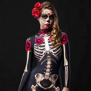 Women Cosplay Skeleton Rose Sexy Bodysuit Halloween Devil Ghost Specter Jumpsuit Romper Party Carnival Performance Scary Costume CX200817