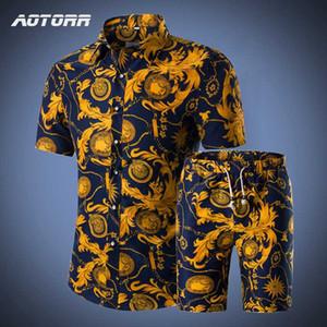 Mens Цветочные Гавайи Tracksuit Summer Beach 2 Piece Set с коротким рукавом рубашки шорты Беговая Sweatsuit Slim Fit отдыха мужчин Наборы 5XL