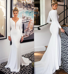 Elégante 2020 ressort satin de mariée sirène robes à manches longues col V Sheer Boho Robes de mariée Bouton couvert Custom Made robe de mariée