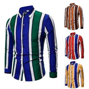 2020 New Striped Men's Shirt Dress Business Casual Shirts Long Sleeve Tops Blouse camisa masculina streetwear