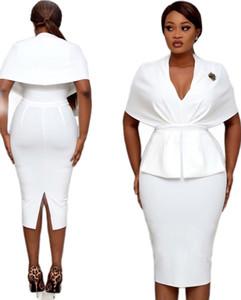 Designer Patchwork Robes pour le travail des femmes d'été de Split Casual Robes moulante à mancherons V Neck Mode Femmes Robes