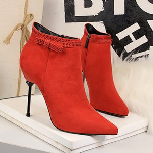 Women Ankle Boots Cow suede plus size pointed toe Winter Shoes Solid Color Zipper Warm all match velvet shoes
